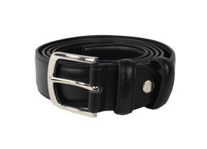 Cintura in pelle nera con fibbia in acciaio